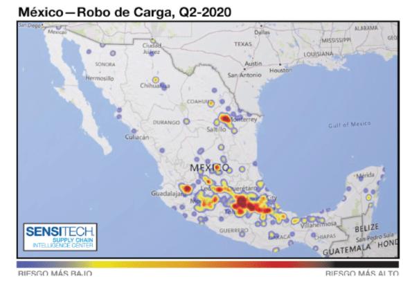 Estadísticas de Robo al Transporte de Carga en México en el Segundo Trimestre 2020